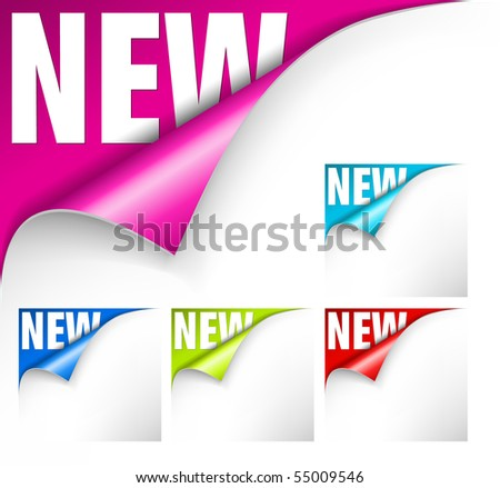 Collection of papers with curl and new lettering for a new item - stock vector