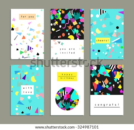 Collection of party cards and invitations. Birthday backgrounds with confetti. Vector - stock vector