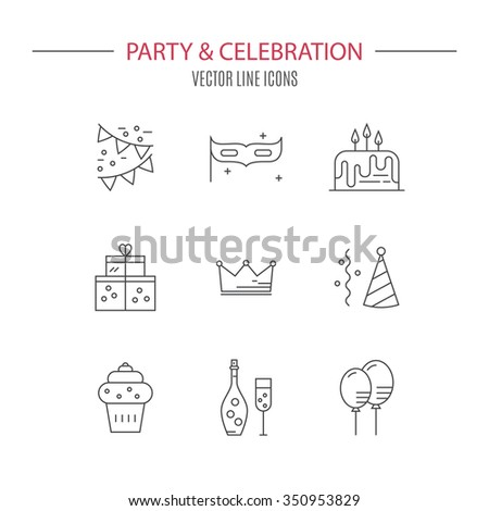 Collection of party symbols. Vector line style icons. Celebration and event planning pictogramms. - stock vector