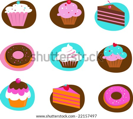 collection of pastry and cakes icons - stock vector