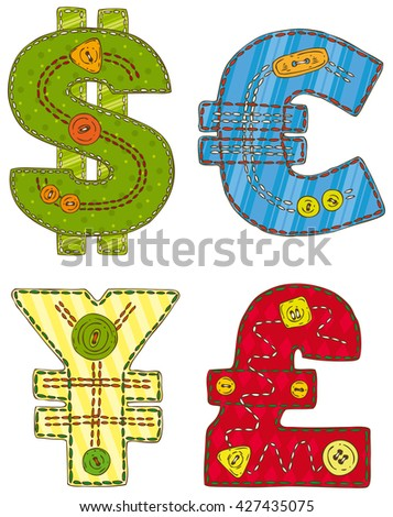 Collection of Patchwork Currency Symbols Isolated on a White Background - stock vector