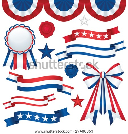 Collection of patriotic emblems, including banners, ribbons, and bunting in traditional red, white and blue; file contains unexpanded blends and clipping paths. - stock vector