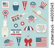 collection of patriotic usa stickers with flags - stock photo