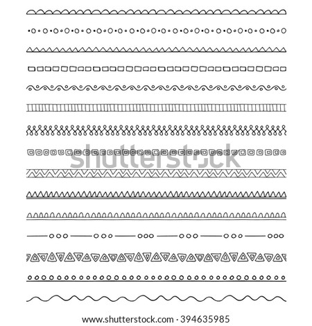 Collection of pattern brushes - borders - stock vector