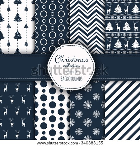 Collection of patterns. Merry Christmas and Happy New Year! Set of seamless backgrounds with traditional symbols:  snowflakes, pine tree, deer and suitable abstract patterns.  - stock vector