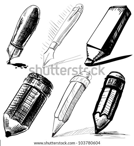 Collection of pens and pencils.Sketch vector set in doodle style