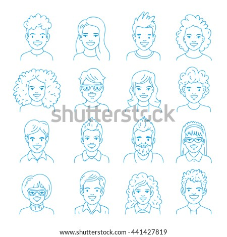 Collection of people avatars. Set of linear portraits of men and women. Vector illustration on white background.