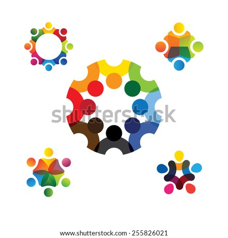 collection of people icons in circle - vector concept engagement, togetherness. this also represents social media community, leader & leadership, unity, friendship, play group, employees & meeting - stock vector