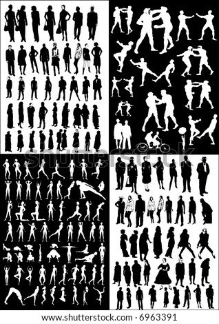 collection of  people vectors  silhouettes - black&white