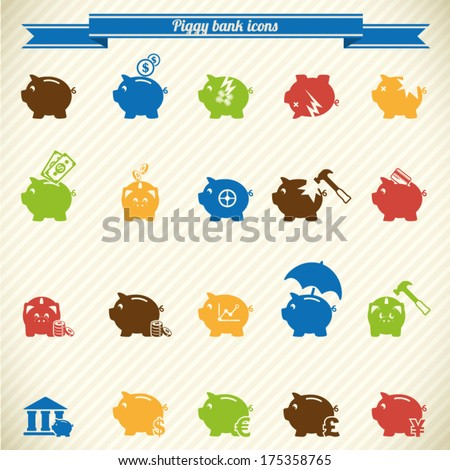 collection of Piggy bank icons, banking and savings  - stock vector