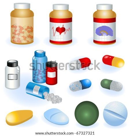 Collection of pills - stock vector