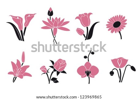 Collection of pink flowers for your design.Vector. EPS-10 (non transparent elements,non gradient). - stock vector