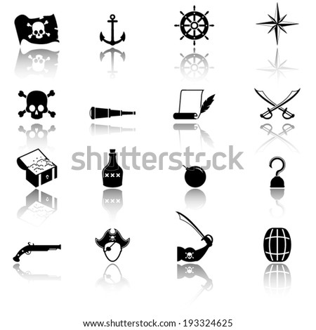 Collection of pirate icons - stock vector