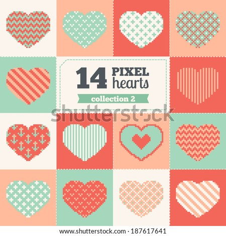 Collection of pixel hearts with different patterns - stock vector