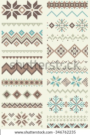 Collection of pixel retro brush templates with stylized winter Nordic ornament. Vector illustration. - stock vector