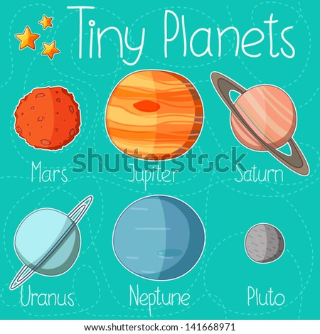 Collection of planet stickers form Mars to Pluto. Cartoon planet icons. Kid's elements for scrap-booking. Childish background. Hand drawn vector illustration. - stock vector