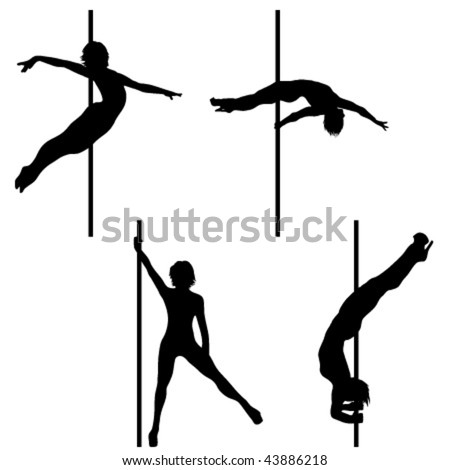 Collection of Pole dance vector silhouettes - stock vector