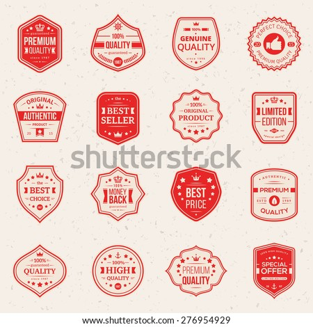 Collection of Premium and High Quality labels. Vector illustration. Set of retro vintage badges Money back, Best choice, Best price, Original Product. Quality Guarantee sign. - stock vector