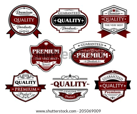 Collection of premium and quality labels or banners for retail industry design with various texts including premium, quality, guaranteed, genuine for retail industry design