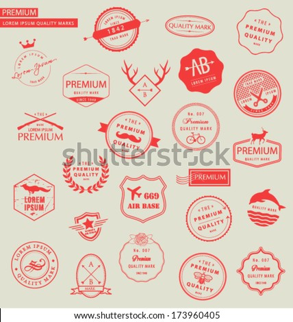 COLLECTION OF PREMIUM DESIGN ELEMENTS SUCH AS LOGOS. For web, blog, stickers,labels, and logo elements. Editable vector illustrator file. - stock vector
