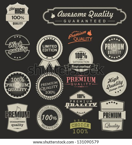 Collection of Premium Quality and Guarantee Labels - stock vector