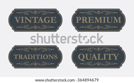 Collection of Premium Quality and Guarantee Labels with retro vintage style design - stock vector