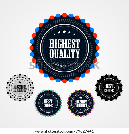 Collection of Premium Quality badges - stock vector