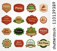 Collection of premium quality pizza labels - stock vector