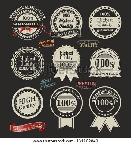 Collection of Premium Quality retro vintage styled design - stock vector