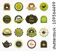 Collection of premium quality tea labels - stock vector