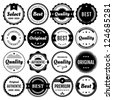 Collection of premium vector badges & packaging labels.Styles include modern,retro, clean, & classic. Isolated design elements includes typography for Quality,Authentic, Best,Original, & Select.Eps10. - stock vector