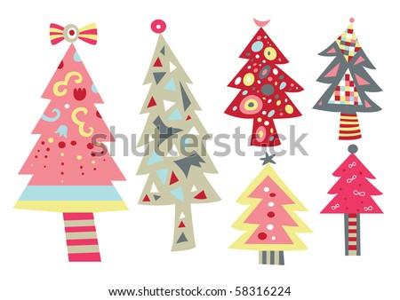 Contemporary Christmas Tree decorative christmas tree contemporary style stock vector 57195223