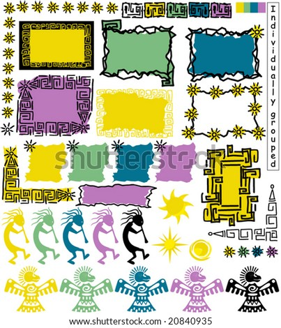 Collection of primitive Aztec style,frames,borders,background and design elements - stock vector