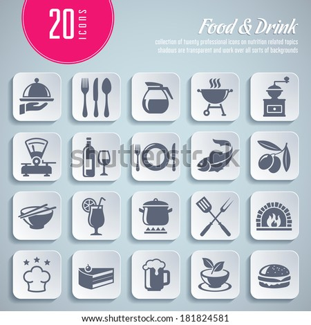 collection of 20 professional icons on food and drink themed topics - stock vector