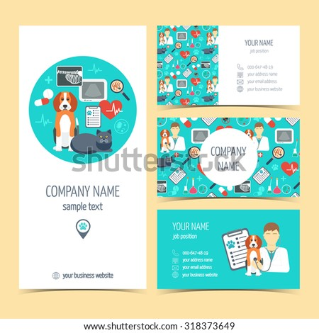 Collection of promotional products for vet clinic. Flyer, brochure and business cards. Pet care.  Flat design. Vector illustration - stock vector