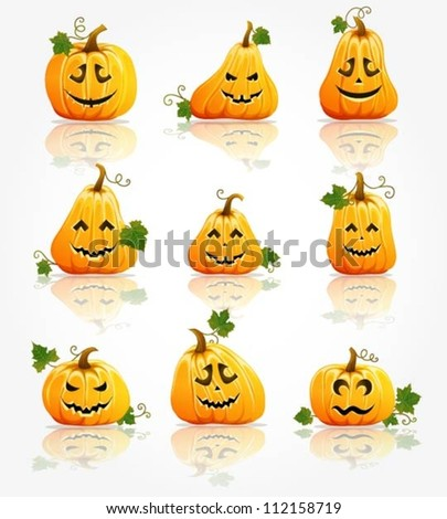 Collection of pumpkins with various shapes and expressions - stock vector