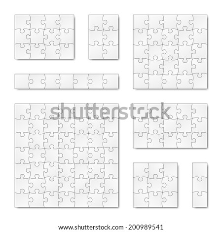 Collection of puzzle templates - stock vector