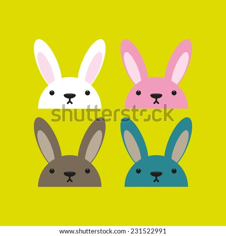 Collection of rabbits. Vector illustration. - stock vector