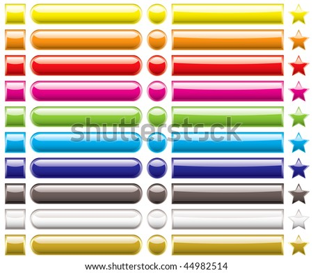 Collection of rainbow icons with various shapes and light reflection - stock vector