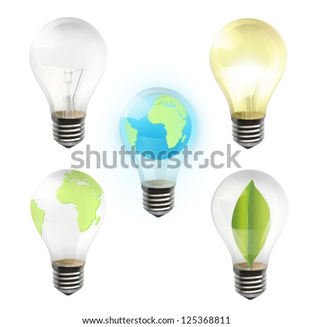 Collection of realistic bulb isolated on white. Vector design. - stock vector