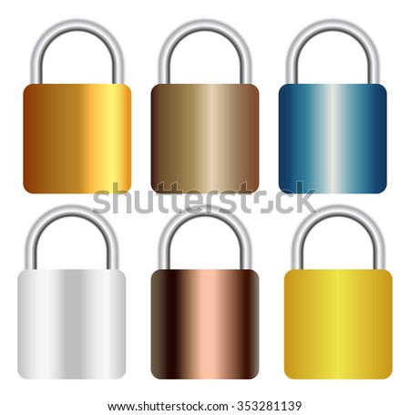 collection of realistic metal gradient padlock isolated on white background - stock vector