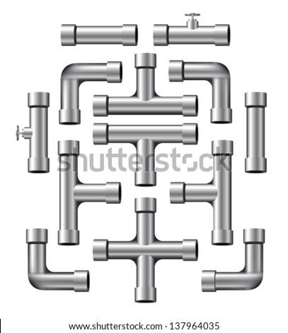Collection of realistic silver pipe pieces of various shapes and lengths. Eps 10 Vector. - stock vector