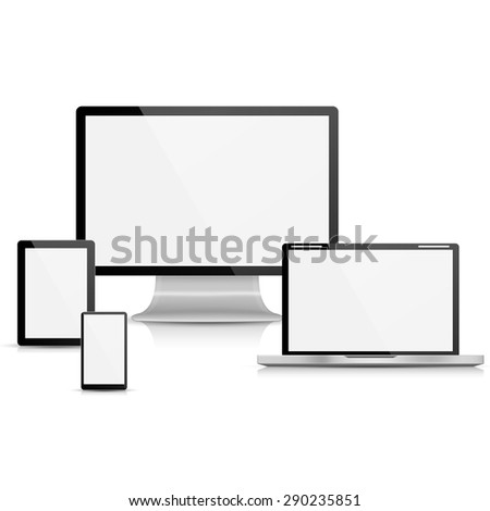 Collection of realistic vector laptop, tablet computer, monitor and mobile phone template - stock vector