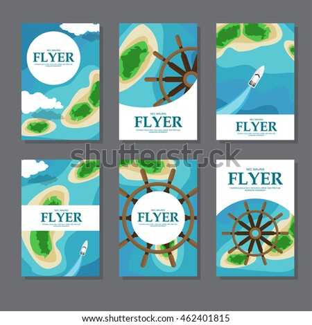 Collection of rectangular cards with sea,islands and wheel. Vector illustration