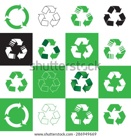 Collection of recycle icon. vector illustration - stock vector