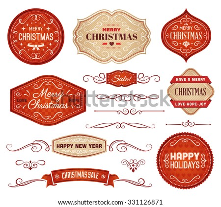 Collection of red and beige christmas vector labels and ornaments. - stock vector