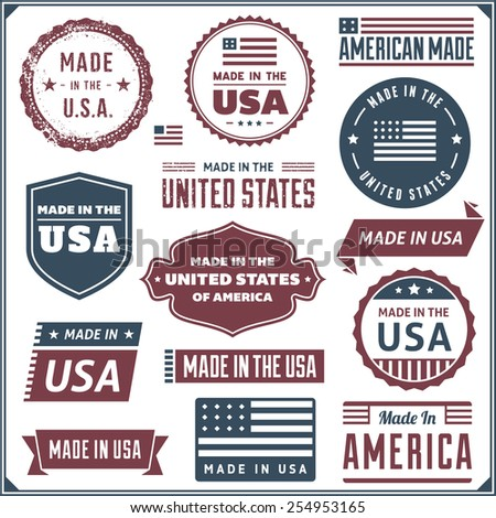 Collection of red and blue made in the USA labels. Vector format. - stock vector