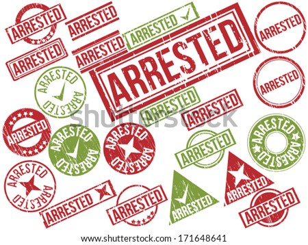 "Collection of 22 red and green grunge rubber stamps with text ""ARRESTED"" . Vector illustration"