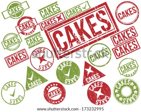 "Collection of 22 red and green grunge rubber stamps with text ""CAKES"" . Vector illustration"