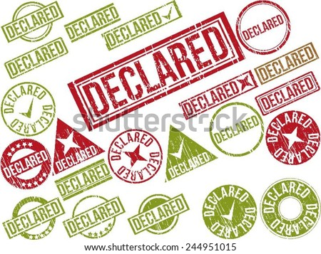 """Collection of 22 red and green grunge rubber stamps with text """"DECLARED"""" . Vector illustration - stock vector"""